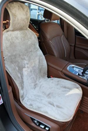Накидка на сиденье из овчины бежевая